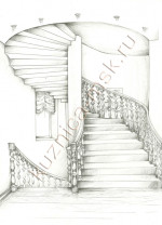 Эскиз деревянной лестницы для дома №1