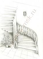 Эскиз деревянной лестницы для дома №2