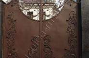 Ворота кованые коричневые