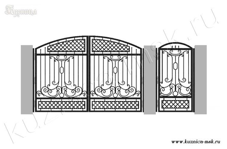 Эскиз кованых ворот и калитки