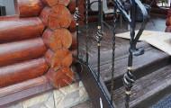 Кованые перила вход в баню