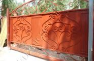 Раздвижные автоматические кованые ворота оранжевые № В-206